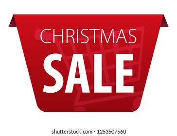 Christmas Sale text on red tag ribbon banner with shopping cart symbol icon isolated on white background. illustration