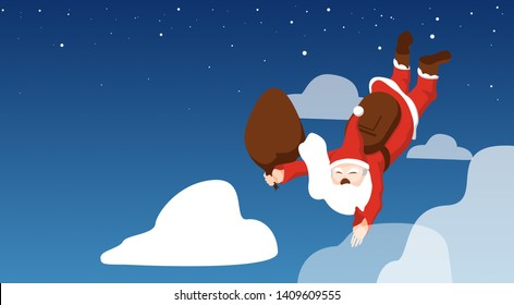 Christmas Santa Claus. Funny cartoon character with parachute.Santa flying by parachute and illustration isolated on night blue sky with copy space