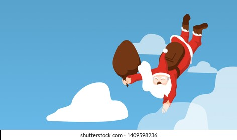 Christmas Santa Claus.Funny cartoon character with parachute.Santa flying by parachute and illustration isolated on light blue with copy space