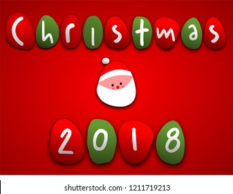 Christmas Santa poster sign with cartoon lettering