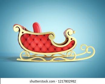 Christmas Santa sleigh, red and golden sledge 3d rendering