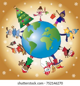 christmas scene with happy children on the world