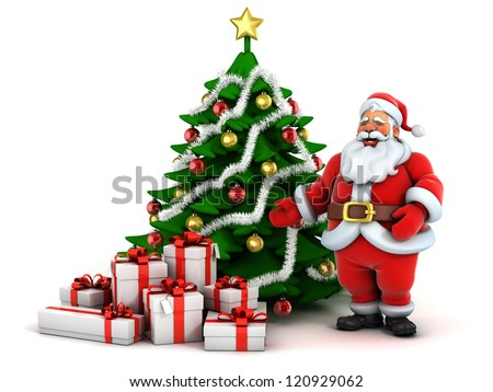christmas scene santa claus christmas tree and presents