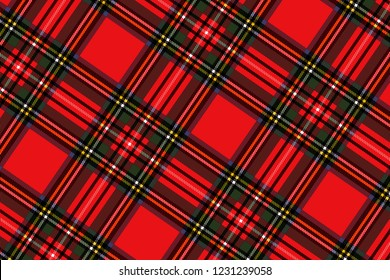 Christmas  Scottish Woven Tartan Plaid Seamless Pattern on red background.illustration