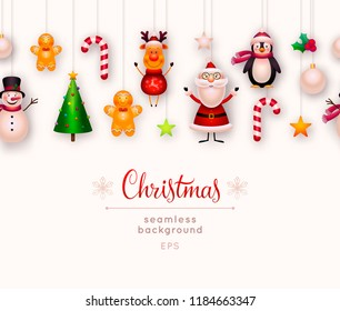 Christmas seamless background. New year and xmas decoration. Set of hanging christmas ornaments and toys - santa claus, reindeer, christmas tree, snowman, star, candy cane, holly. Raster illustration.