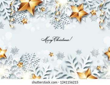 Christmas seamless banner  with 3d snowflakes and golden stars