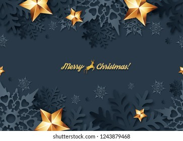 Christmas seamless banner  with 3d snowflakes with shadows