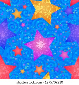Christmas Seamless Blue Pattern for Holiday Design Colorful Stars with Flowers and Snowflakes on Tile Background with Spirals.