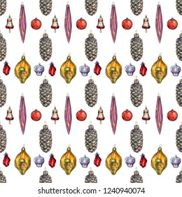 Christmas seamless pattern with balls, cupcakes, bells, cones, crystals and icicles. Toys isolates on white background.  Perfect for wallpaper, gift paper, web page background, winter decorations