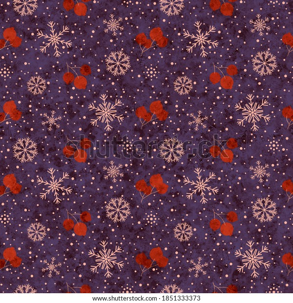Christmas seamless pattern, branches with red berries, snow and snowflakes, purple. Decorative shabby and melange festive background for printing on various goods.