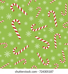 Christmas seamless pattern with candy canes and snowflakes. Background for wrapping paper, fabric print, greeting cards design. Raster version