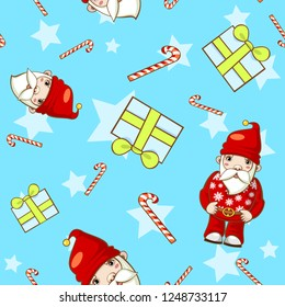Christmas seamless pattern with candy, gift and Santa Claus.