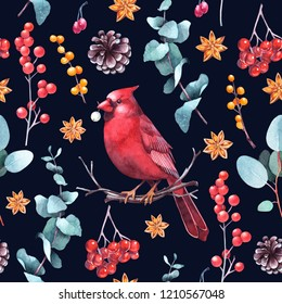 Christmas seamless pattern with cardinal bird, berries, eucalyptus and cones on dark background. Holiday watercolor illustration.