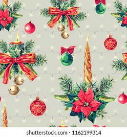 Christmas seamless pattern of Christmas decorations, watercolor illustration.