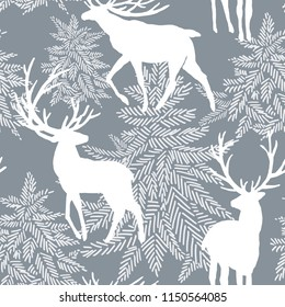 Christmas seamless pattern with deers. watercolor winter forest illustration.