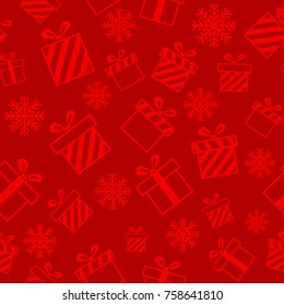 Christmas seamless pattern with gift boxes on red background. New year design. Wrapping paper for Christmas gift boxes, birthday, wedding and other holidays