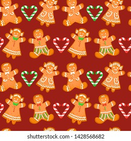 Christmas seamless pattern with gingerbread men and girls on dark broun background. Illustration.
