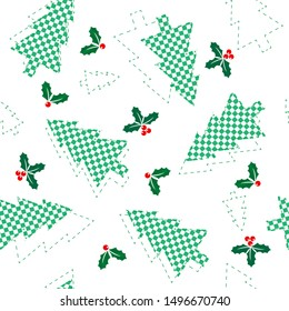 Christmas seamless pattern of  green chess trees and holly branches, concept of Christmas and New Year