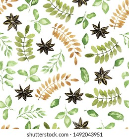 Christmas seamless pattern. Green leaves, branch, vanilla elements. Watercolor technique