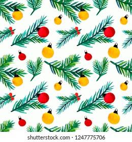 Christmas seamless pattern. Hand drawn watercolor pattern.