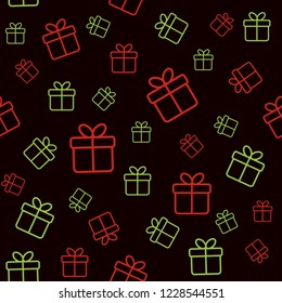 Christmas seamless pattern. Minimal dark background with outline gift boxes. Raster version