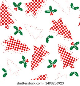 Christmas seamless pattern of red chess trees and holly branches, concept of Christmas and New Year