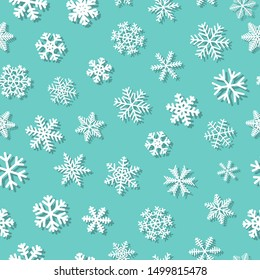 Christmas seamless pattern of snowflakes with shadows, white on light blue background