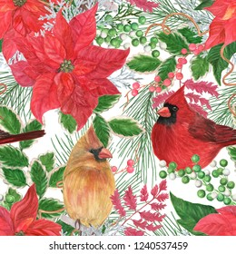 Christmas seamless pattern with Watercolor painting Red poinsettia flower arrangement. Hand drawn.