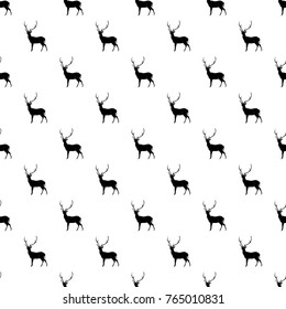 Christmas seamless pettern with reindeer. Gift wrapping paper. Holiday background