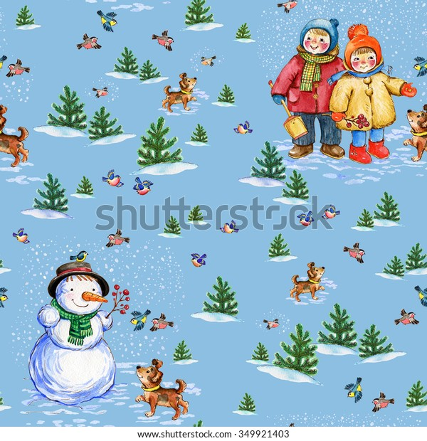 Christmas Seamless Watercolor Pattern Merry Winter1 Stock