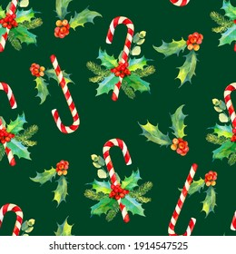 Christmas seamless watercolor pattern. Tasty set of Christmas sweets. Watercolor illustration of candy cane and holly branches and berries. Watercolor christmas traditional pattern for wrapping paper