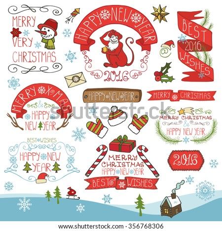 christmas season decorationschinese new year label ribbonsfir branches and lettering