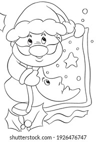Christmas. Set of coloring pages. Coloring book. Cute and funny cartoon characters. Illustration for children.