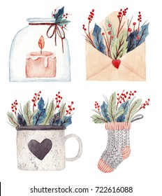Christmas set with cup, candle, envelope and sock. With beautiful green branches and berries. Watercolor hand drawn illustration.