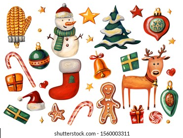 Christmas set with holiday symbols. Reindeer, Santa hat, Christmas decorations, gift boxes, stars, snowman, gingerbread, sock, bell, Christmas tree and lollipops isolated on white background