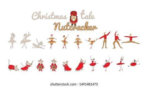 Christmas set with nutcracker, princess, Mouse King, sugar plum fairy, winter fairy. Holiday collection with cute cartoon characters isolated on white background.