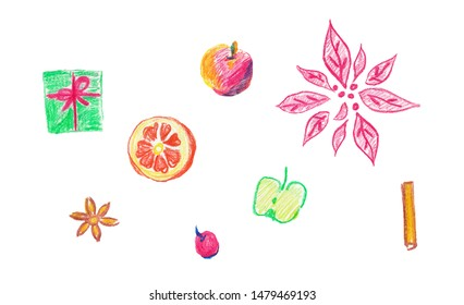 Christmas set with a poinsettia, cinnamon, an anisetree, apples, orange and a gift. It is drawn with wax crayons