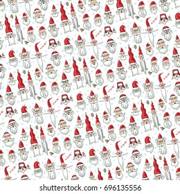 Christmas set.Santa faces  pattern.Hand drawn vector. New year humor. Santa hair style.Different caracters. Old man in red hat. Christmas illustration,background,wallpaper,ornament