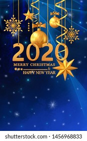 Christmas shining background New Year, 2020, gold balls, fantastic blurred cloud and sky gradient, soft focus, grunge texture, glittering sparkling stars, curls, burning lights, dream. 3d rendering
