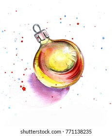 Christmas shiny toy on a white background with colored drops, watercolor sketch
