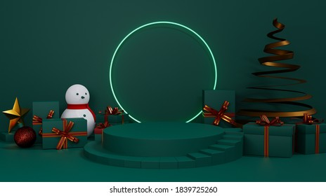 Christmas showcase decorate with stage, snowman, christmas tree and gift box. Concept of Christmas and New year product display platform. 3d rendering.