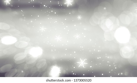 Christmas silver background with falling snowflakes. illustration digital.