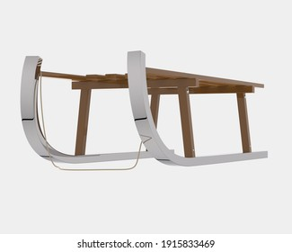 Christmas sled isolated on grey background. 3d rendering - illustration