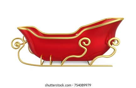 Christmas Sleigh Isolated. 3D rendering