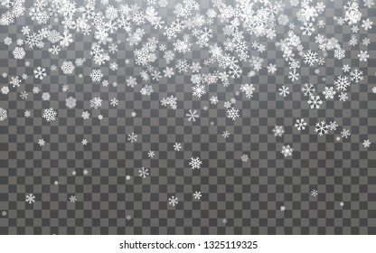 Christmas snow. Falling snowflakes on dark background. Snowfall.