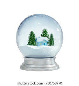 Christmas snow globe isolated on white. 3D rendering with clipping path