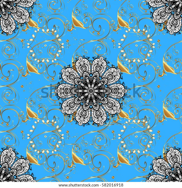 Christmas, snowflake, new year. Golden on blue background with golden elements. Vintage pattern on blue background with golden elements.