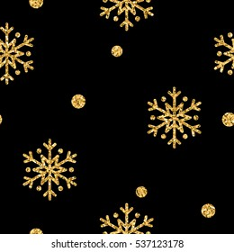 Christmas snowflake seamless pattern. Gold snow black background. Golden abstract shine wallpaper, wrapping texture. Symbol Merry Xmas holiday, Happy New Year celebration. illustration