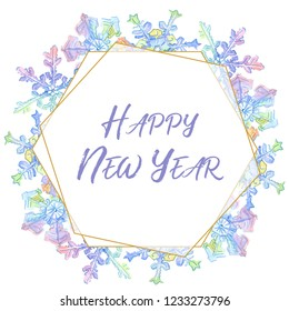 happy new year handwriting monogram calligraphy winter holiday symbol in a watercolor