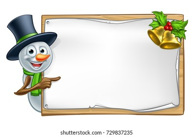 Christmas snowman cartoon character peeking around wooden scroll sign with gold bells and holly and pointing